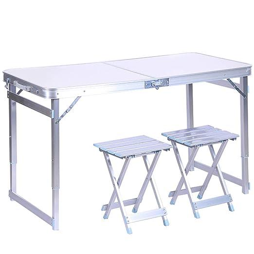 CHENGGUO Mesa y sillas Plegables de Aluminio Exteriores, Mesa de ...