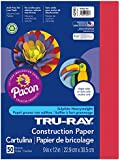 Pacon Tru-Ray Construction Paper, 9-Inches by 12-Inches, 50-Count, Holiday Red (102993)