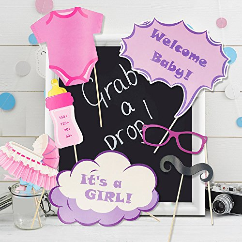 Baby Shower Photo Booth Prop + Party Banner Bunting - Newborn Monthly Ideas Gender Reveal Favors Supplies Decorations It's a Girl DIY Photography Selfie Birthday Christmas Gift for 1st Mom Daddy to be by Swibitter (Image #1)