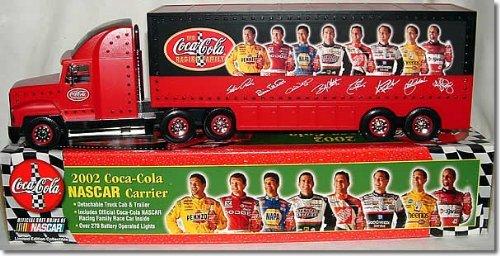 2002 NASCAR Coca Cola Family of Drivers Theme (Elliott, Labonte, Stewart, Harvick, Kyle Petty) Silver Rims Wheels Tractor Trailer Semi Rig Truck With One Coca Cola Race Car