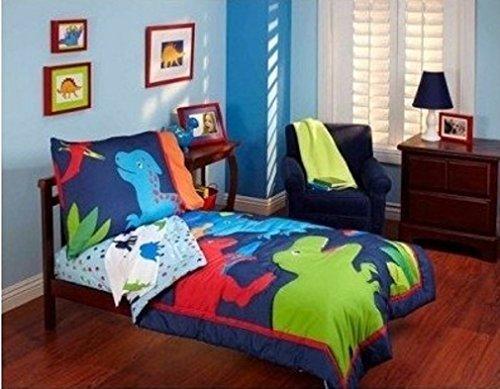 Garanimals ''Dino-Mite'' Dinosaurs 4-piece Toddler Bedding Set, Blue and Red Comforter Set for Boys by Garanimals