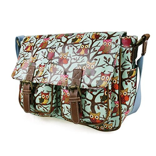 Blue Bag Messenger D Shoulder Light Satchel Designer Fashion Owl Bag Oilcloth Crossbody Print xr0f7w0qY