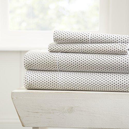 - ienjoy Home 4 Piece Sheet Set Stippled Patterned, Queen, Gray