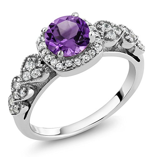 Amethyst Ring Genuine Birthstone (925 Sterling Silver Purple Amethyst Gemstone Birthstone Women's Ring 1.02 Ct (Size 9))