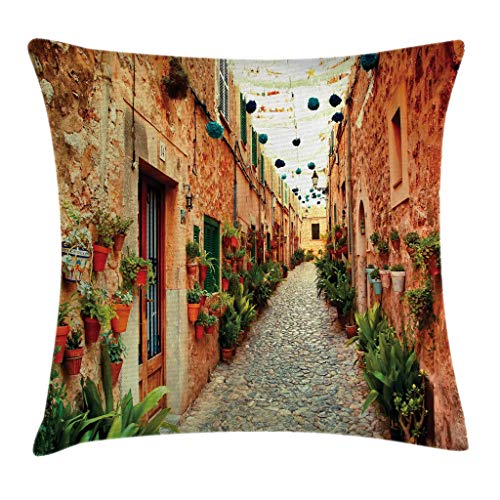 """Ambesonne European Throw Pillow Cushion Cover, Spanish Alley with Rock Houses and Plants Latin Tourism Scene Mediterranean Print, Decorative Square Accent Pillow Case, 20"""" X 20"""", Cream Green"""