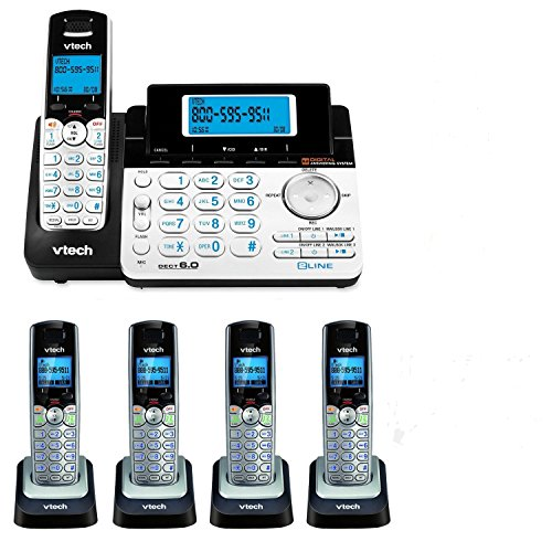 VTech DS6151 2-Line Expandable Cordless Phone with Digital Answering System and Caller ID with 4 Extra DS6101 Handsets (Digital Handsets Phone 2)