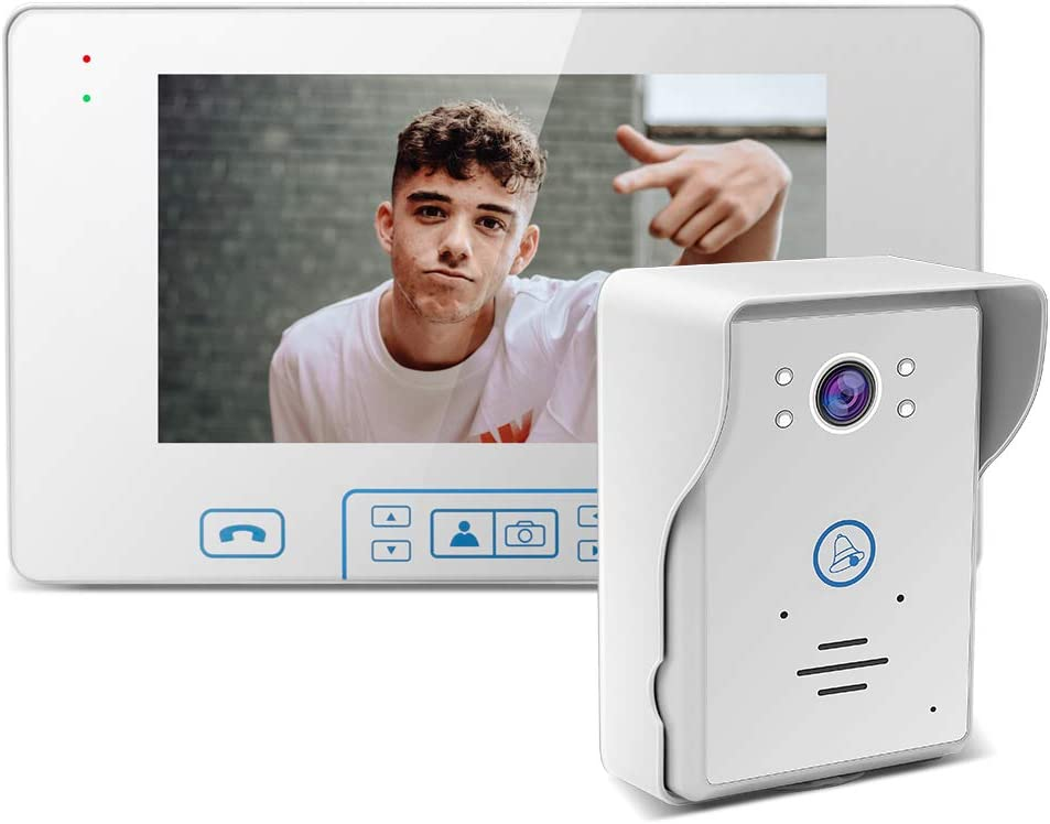 Wireless Video Door Phone 7'' TFT Digital Waterproof IP55 with IR Night Vision Intercom System Doorbell for Home Security