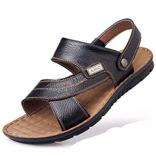 Uomini sandali Uomini estate vera pelle Spiaggia scarpa Tempo libero scarpa Il nuovo pelle Spessore inferiore Antiscivolo sandali Uomini scarpa ,nero,US=9.5,UK=9,EU=43 1/3,CN=45