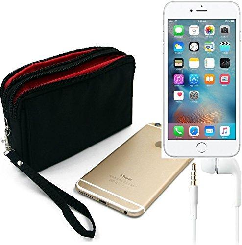 TOP SET: Gürteltasche für Apple iPhone 6s Plus, schwarz + Kopfhörer. Travel Bag, Travel-Case mit Diebstahlschutz praktische Schutz-Hülle Schutz Tasche Holster Outdoor-case (Wir zahlen Steuern in Deuts