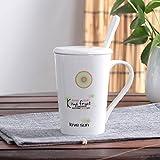 SLR Taza del Patrón de Fruta, Taza Simple Linda, Taza de Cerámica de los Pares, Taza Creativa de la Leche del café de la Personalidad, con la Cuchara de la Cubierta,Cantalupo,Jarra