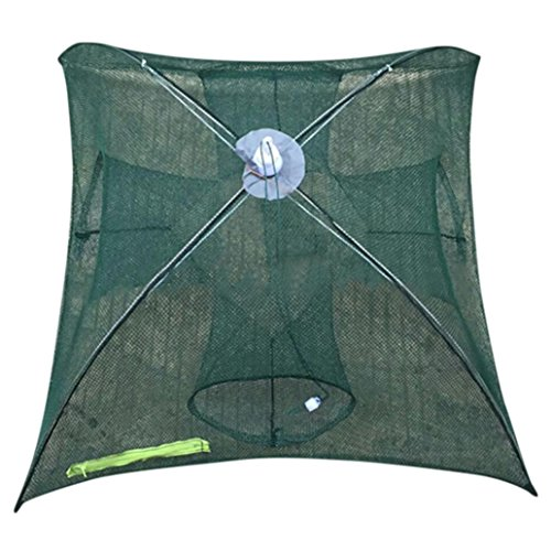 Iuhan Hot Sale Portable Folded Fishing Net Fish Shrimp Minnow Crayfish Crab Baits Cast Mesh Trap automatic (Automatic 4 Holes (Plastic Minnow Trap)