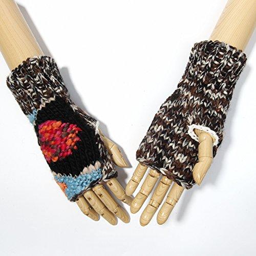 Kbb Women Trendy Winter Warm Knitted Acrylic Wool Fingerless Gloves  Stardust