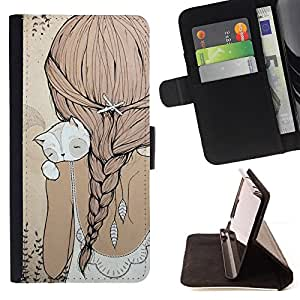 Ihec-Tech / Negro Flip PU Cuero Cover Case para Samsung Galaxy S5 Mini, SM-G800 - Ponytail Cat Beige robe douce