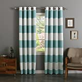 Best Home Fashion Rugby Stripe Room Darkening Curtains – Stainless Nickel Grommet – 52″W x 84″L – Ocean (Set of 2 Panels) For Sale