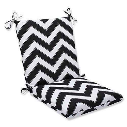Pillow Perfect Outdoor Chevron Squared Corners Chair Cushion, Black/White