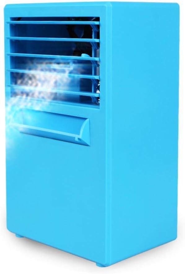 Nuevo ventilador de aire acondicionado de escritorio Mini ventilador de refrigeración ventilador de refrigeración de oficina doméstica humidificación por pulverización 14.5 * 10 * 24.2cm Azul europeo