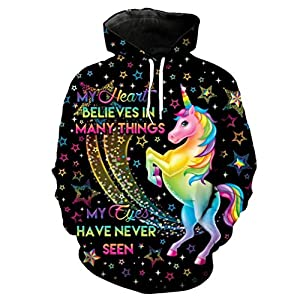 Rainbow Unicorn Print Cool Hooded Sweatshirt Cute