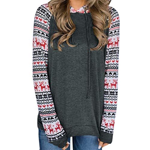 Women Christmas Hooded Sweatshirt, Womens Printing Hoodies Tops Blouse ANJUNIE(Dark Gray,M)