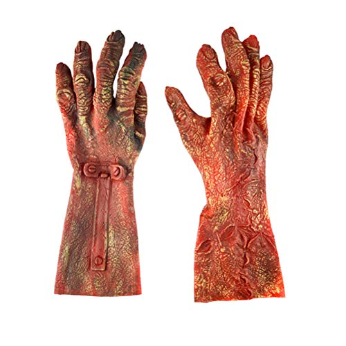 BESTOYARD Halloween Costume Gloves with Nails Ghost Claw Gloves Latex Horrific Costume for Halloween Party Cosplay (Large Size Red Zombie Gloves)]()