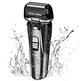 INSMART Electric Shaver for men, Waterproof Wet/Dry USB Quick Rechargeable Cordless Electric Razor with Led Display, Travel Lock & Pop Up Trimmer-Black - 51oUHaS6J0L - INSMART Electric Shaver for men, Waterproof Wet/Dry USB Quick Rechargeable Cordless Electric Razor with Led Display, Travel Lock & Pop Up Trimmer-Black (Black)
