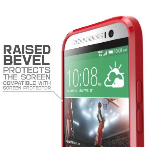 HTC One M8 Case, SUPCASE Unicorn Beetle Premium Hybrid Protective Case for All New HTC One M8 2014 Release (Frost Clear/Red)