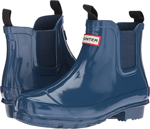 Hunter Kids Unisex Chelsea Gloss Rain Boots (Little Kid/Big Kid) Dark Earth Blue 3 Little Kid M (Hunter Wellies Kids)