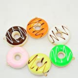 Moonguiding 6 Pcs 5cm Kawaii Jumbo Soft Donut Squishy Bread for Phone Straps Key Chains & Art Handcraft Decoration(random)