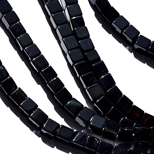 Calvas Wholesale Natural Stone Beads 8MM Black Onyx Cube Beads for Bracelet and Necklace Jewelry Making