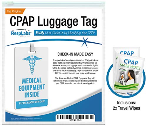 CPAP Medical Device Luggage Tag | CPAP Travel Accessories Plus Inclusions | CPAP Machine, Masks & Equipment Supplies by RespLabs Medical Inc.®