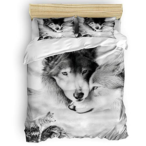 T&H Home 4 Pieces Duvet Cover Set Twin Size Bedding Set with Soft Comforter Cover/Flat Sheet/Pillowcovers - Couple Wolf Lean on Each Other Home Textiles Decor for Children/Kids/Teens/Adults