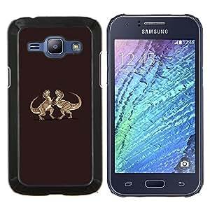 YiPhone /// Prima de resorte delgada de la cubierta del caso de Shell Armor - Dinosaurio divertido T-Rex Lucha - Samsung Galaxy J1 J100