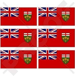 """Ontario Canadá de bandera de la Provincia Canadiense 40mm (1,6"""") Mobile teléfono celular Mini de vinilo pegatinas, calcomanías x6"""