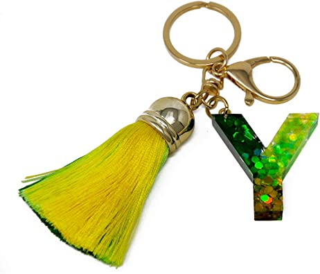 Gradient Color Tassel Keychain A-Z Alphabet Initial Letter Couple Key Chain Personalized Gift