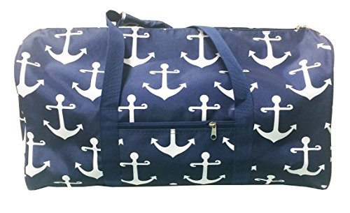 Gym Dance Cheer Travel Duffel Bag Anchor Pattern Design (21'') (Nevy white) by April Fashion Island
