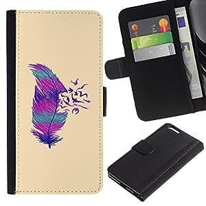 Teal Purple Pink Beige Pájaro Pluma- la tarjeta de Crédito Slots PU Funda de cuero Monedero caso cubierta de piel Para Apple (5.5 inches!!!) iPhone 6+ Plus / 6S+ Plus