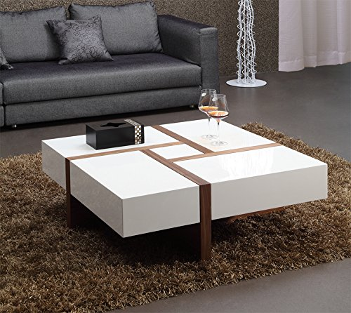 VIG Furniture Modrest Makai Collection Modern Square High Gloss Finish & Walnut Veneer Coffee Table with 4 Drawers, ()