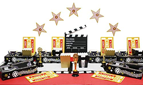 Movie Party Decorations, Red Carpet Birthday Supplies, Movie Night Party Supplies, Oscar Themed Party Decorations, Includes Snack Trays, Popcorn Boxes, Napkins and More for 8 People -