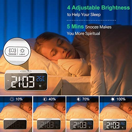Digital Alarm Clock for Bedroom,Desk Clock with USB Port,Adjustable Volume Brightness Dimmer with 2 Alarm Settings,13 Ringtones,12 24Hr,Temp Detect Sound Control for Desk Bedroom Bedside Office