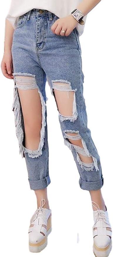 Nobrand 5xl Ripped Jeans Mujer S Sueltos Delgados Pantalones Pantalones Mujer Pantalones Pantalones Monos Vintage Mujer Desgarrados Pantalones Vaqueros Amazon Es Ropa Y Accesorios