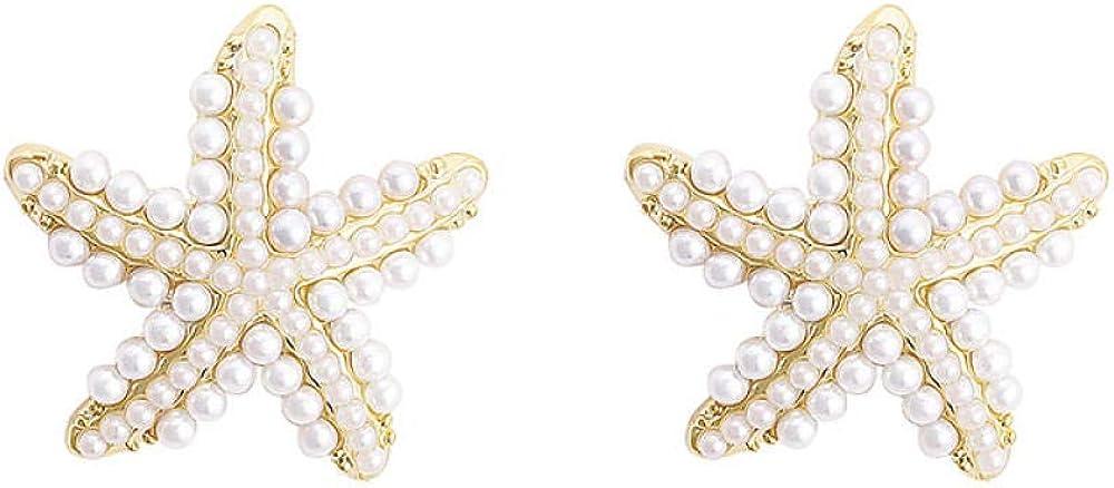 Aretes colgantes para mujer en plata de ley larga Pendientes pequeños de lujo con luz de estrella de mar y perlas Regalo elegante y especial SDHJMT
