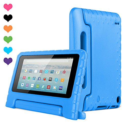 Amazon Kids Kindle Fire 7 Case 2015 Release for Boys&Girls,CAM-ULATA Tablet 7 inch Cover Shock Proof Protective with Handle Stand Holder Light Weight (Previous Generation - 5th) Blue