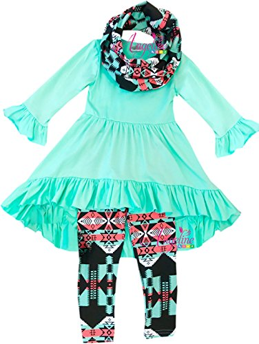 Boutique Clothing Girls Easter Vintage Floral Hi-Low Tunic Legging Scarf Set Mint/Aztec 6/XL (Easter Clothes For Kids)