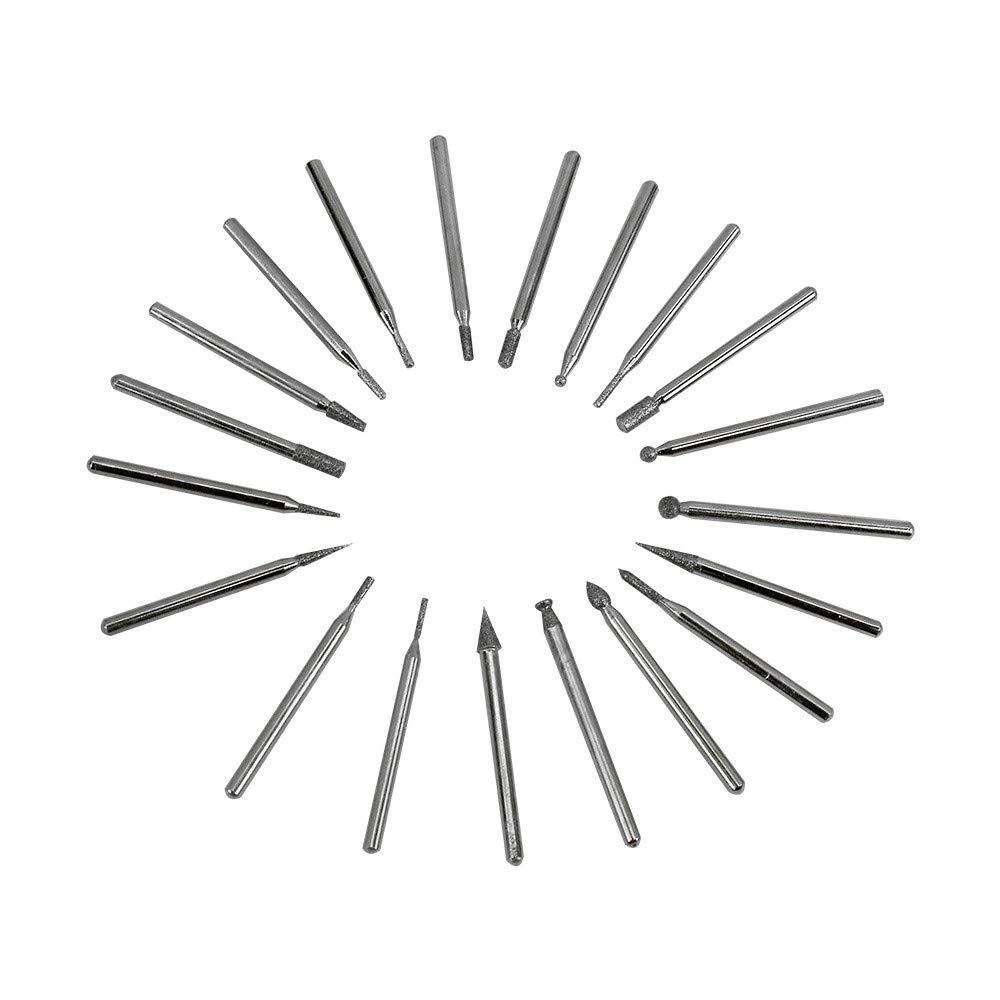 PROLINEMAX 20 Pc 1//8 Diamond Abrasive Grinding Pin Set Diameter Shank Coating Milling Drilling Drill Set