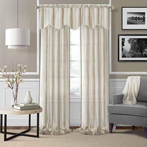 Elrene Home Fashions 26865876178 Rod Pocket Sheer Valance Window Curtain Drape, 56