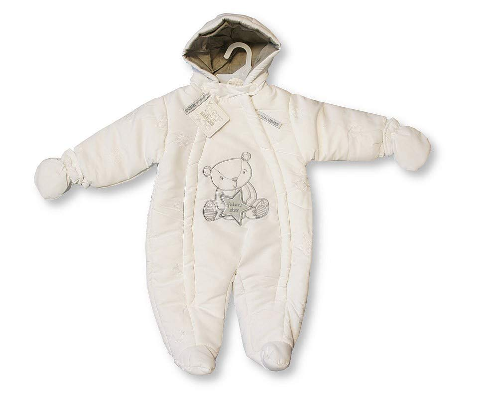 Baby Snowsuit Pramsuit Winter Overall - 'Future Star' - Unisex White - Size 3-6 Months only Sheldon International