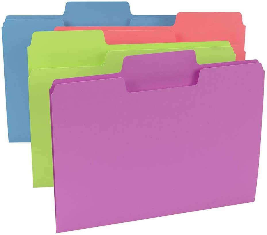Letter Size Oversized 1//3-Cut Tabs 12 Pack Smead SuperTab Notes Folder Assorted Colors New Version