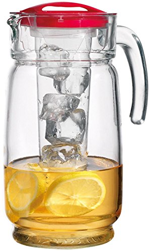 Home Essentials & Beyond 64 Oz. Clear Glass Pitcher with Ice Liner and Red Lid Easy Pour Spout and Handle for Water Lemonade, Iced Tea and Juice (Red Pitcher Juice)