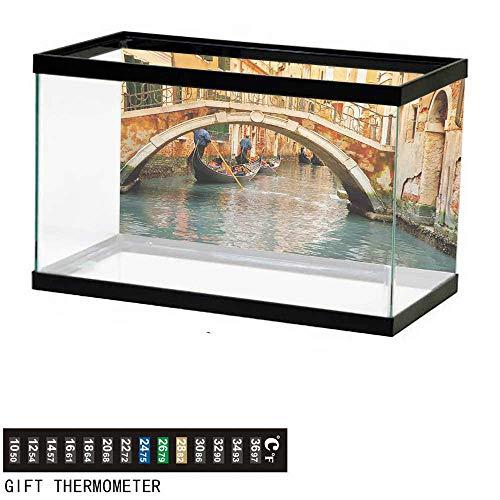 wwwhsl Aquarium Background,Venice,Ancient Bridge and Traditional Gondola Canals of Famous Touristic City,Orange Ivory Bluegrey Fish Tank Backdrop 30
