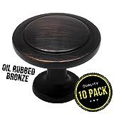 art deco cabinet hinges - 10pk Oil Rubbed Bronze Cabinet Hardware Round Knob - 1-1/4
