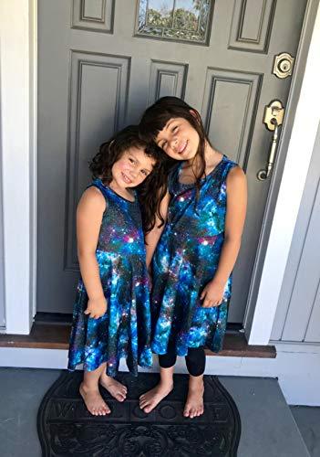 BFUSTYLE 5t Dresses for Girls Little Girls Round Neck Sleeveless Slim Fit Casual Dresses Blue Purple Dark Galaxy Starry Sky Nebula Star LightDress (S Galaxy Blue)